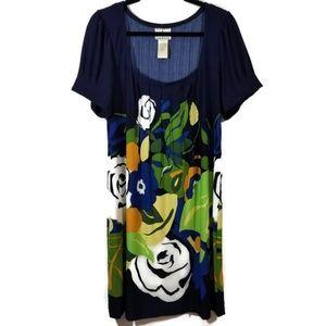 ICE blue floral summer dress XL